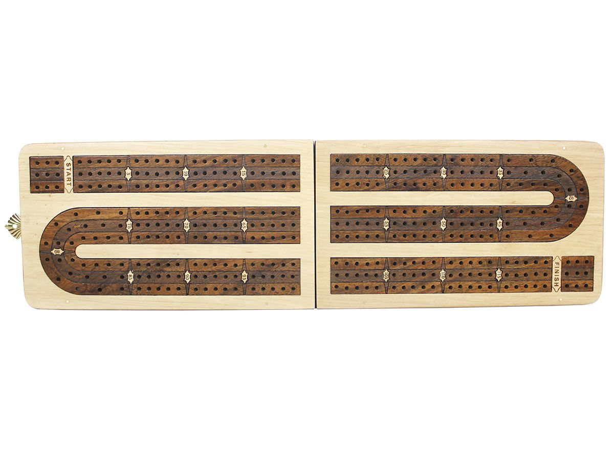 Unique Folding 3 Tracks Continuous Cribbage Boards 120 Points - Top View
