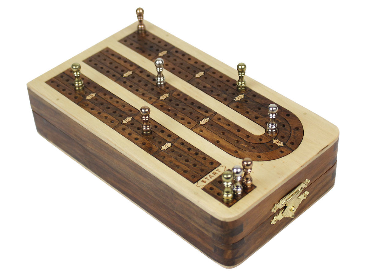 Folding Cribbage Board 3 Tracks Continuous 120 Points