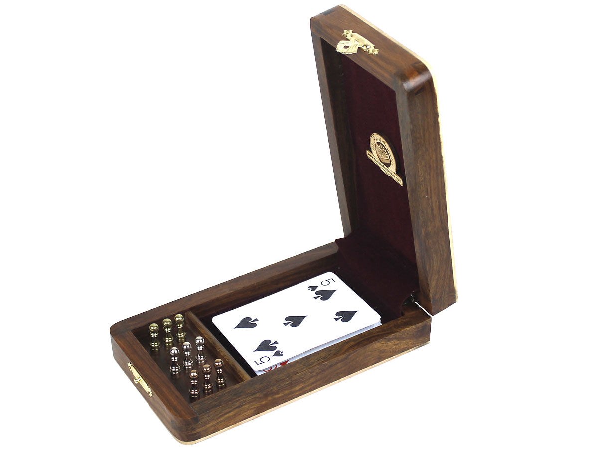Inner View of Folding Cribbage Box with Playing Cards and Pegs inside.