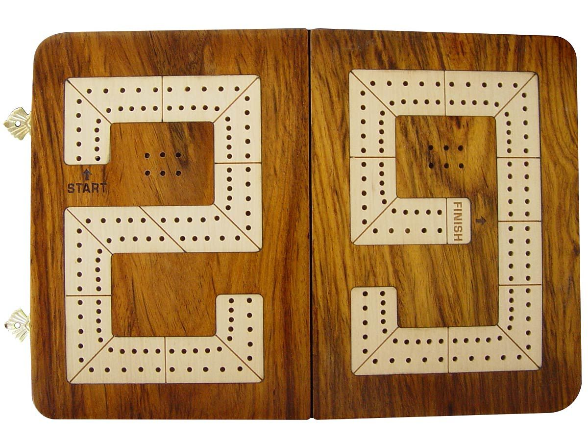 Folding 29 Cribbage Board 2 Tracks - Top view