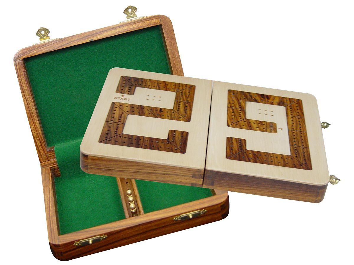 Wooden 29 Cribbage Board 2 Tracks Folding