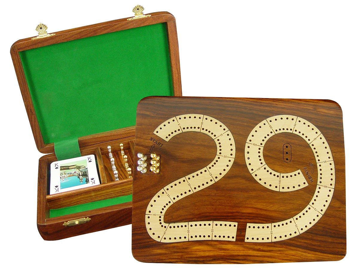 29 Cribbage Board 2 Tracks Wooden Inlaid