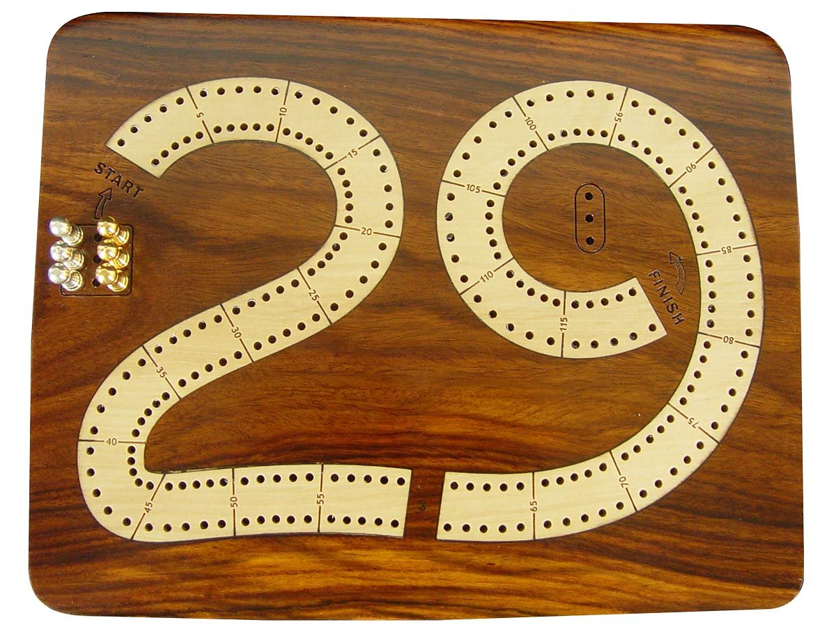 29 Cribbage Board 2 Tracks - Top view