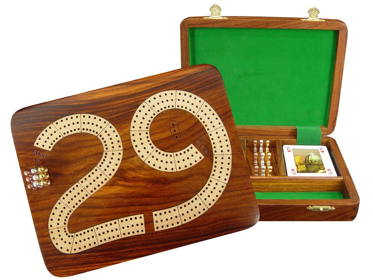 29 Cribbage Board 3 Tracks Wooden Inlaid