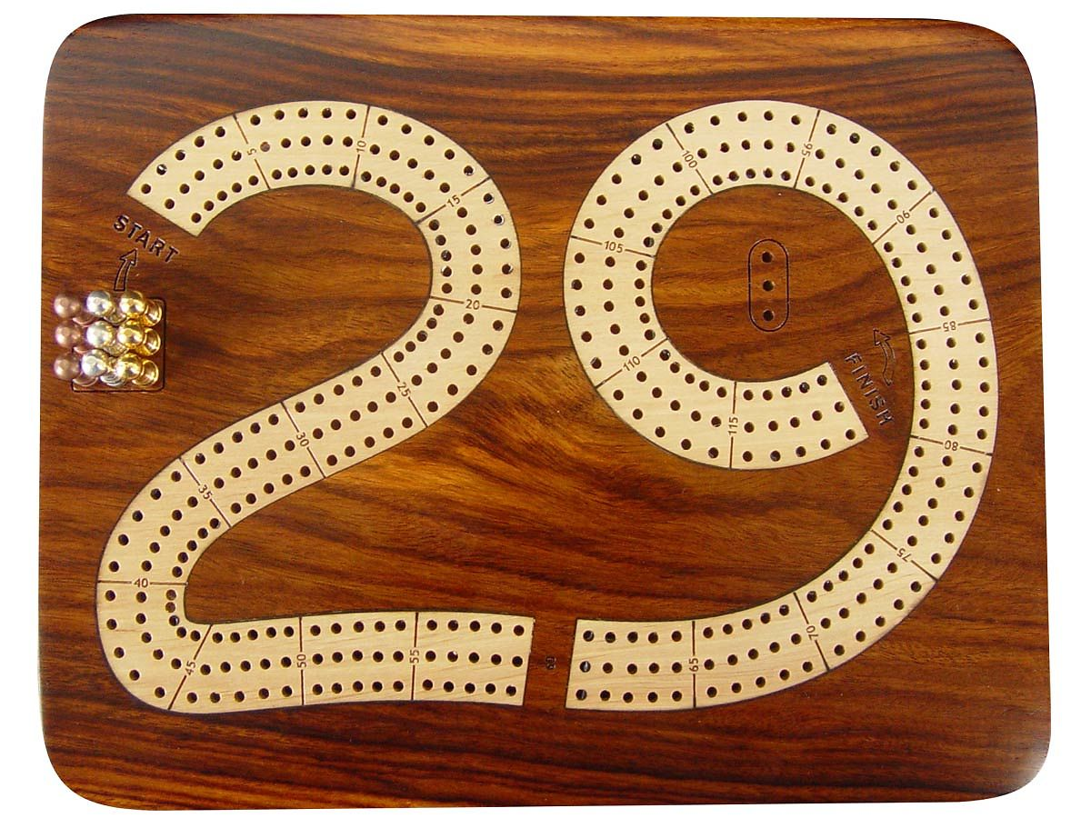 29 Cribbage Board 3 Tracks - Top view