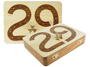"29 Cribbage Board / Flat Box :: Golden Rosewood Inlaid on Maple Ground :: 9"" x 7"" :: 3 Tracks"