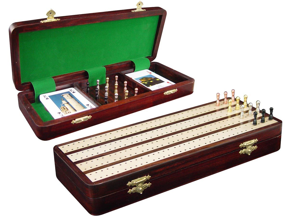 Cribbage Board / Box Inlaid in Rosewood / White Maple - 4 Tracks