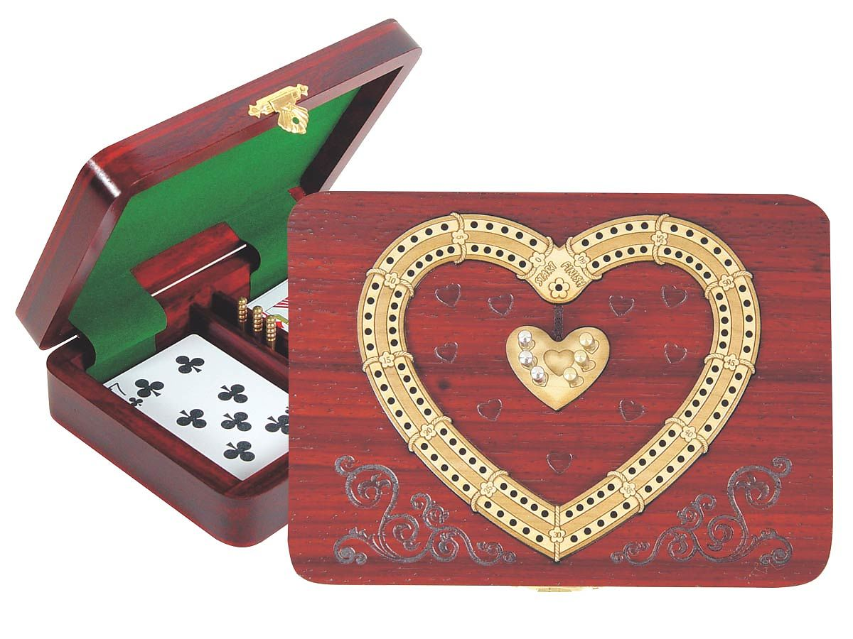 Heart Shape Continuous Cribbage Board inlaid with Blood Wood / Maple - 2 Tracks