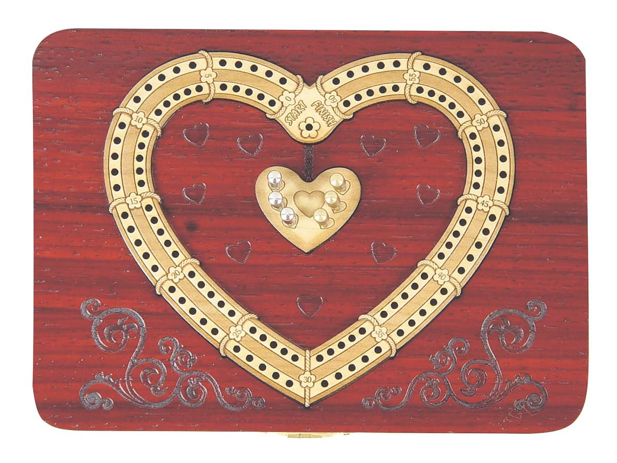 Continuous Cribbage Board in Blood wood Heart Shape Design