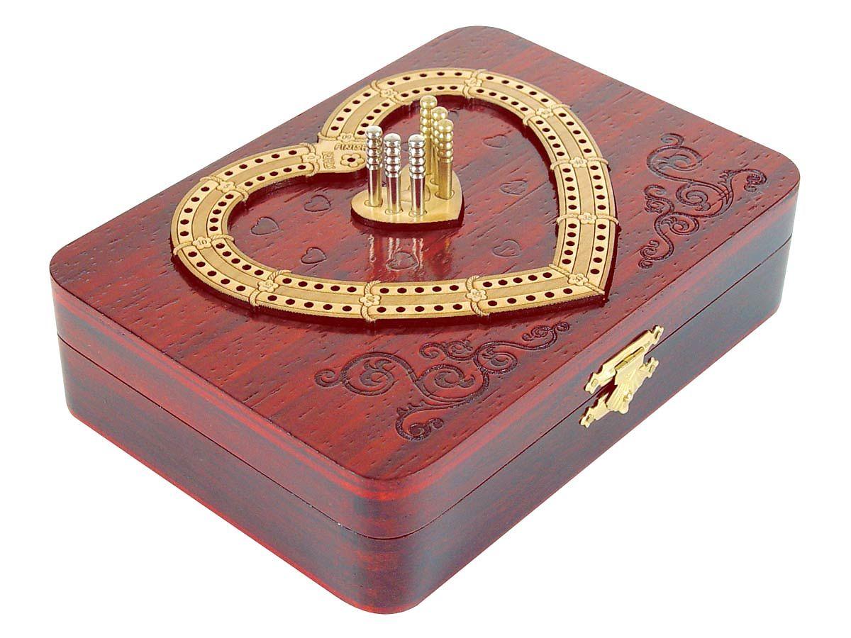 2 Tracks Cribbage Board Heart Shape Design - Side View