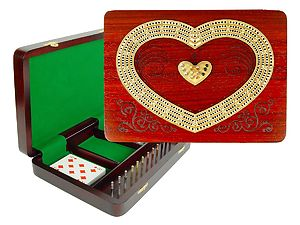 "Heart Shape Continuous Cribbage Board : 4 Tracks :: 11"" x 8"" :: Inlaid with Bloodwood / Maple"