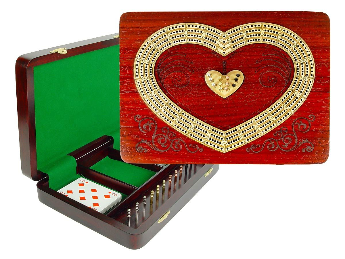 Heart Shape Continuous Cribbage Board 4 Tracks Inlaid with Bloodwood / Maple