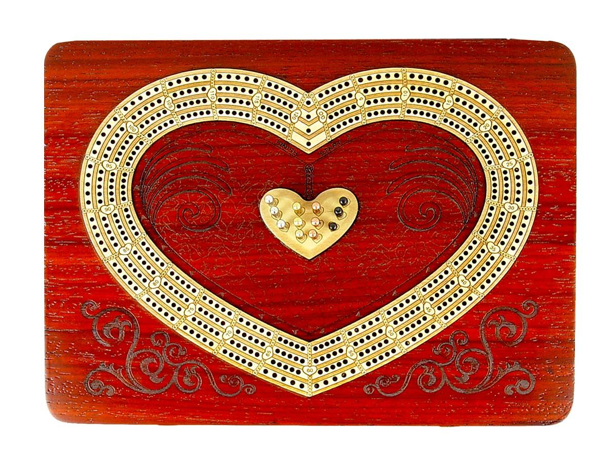 Unique Cribbage Board in Heart Shape inlaid with Bloodwood / Maple