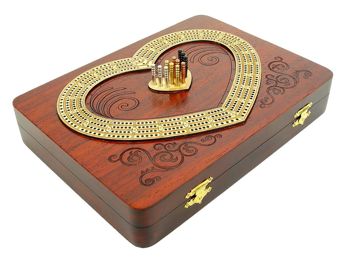 Side View of Heart Shape Cribbage Board inlaid with bloodwood