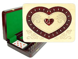 """Heart Shape Continuous Cribbage Board : 4 Tracks :: 11"""" x 8"""" :: Inlaid with Maple / Bloodwood"""