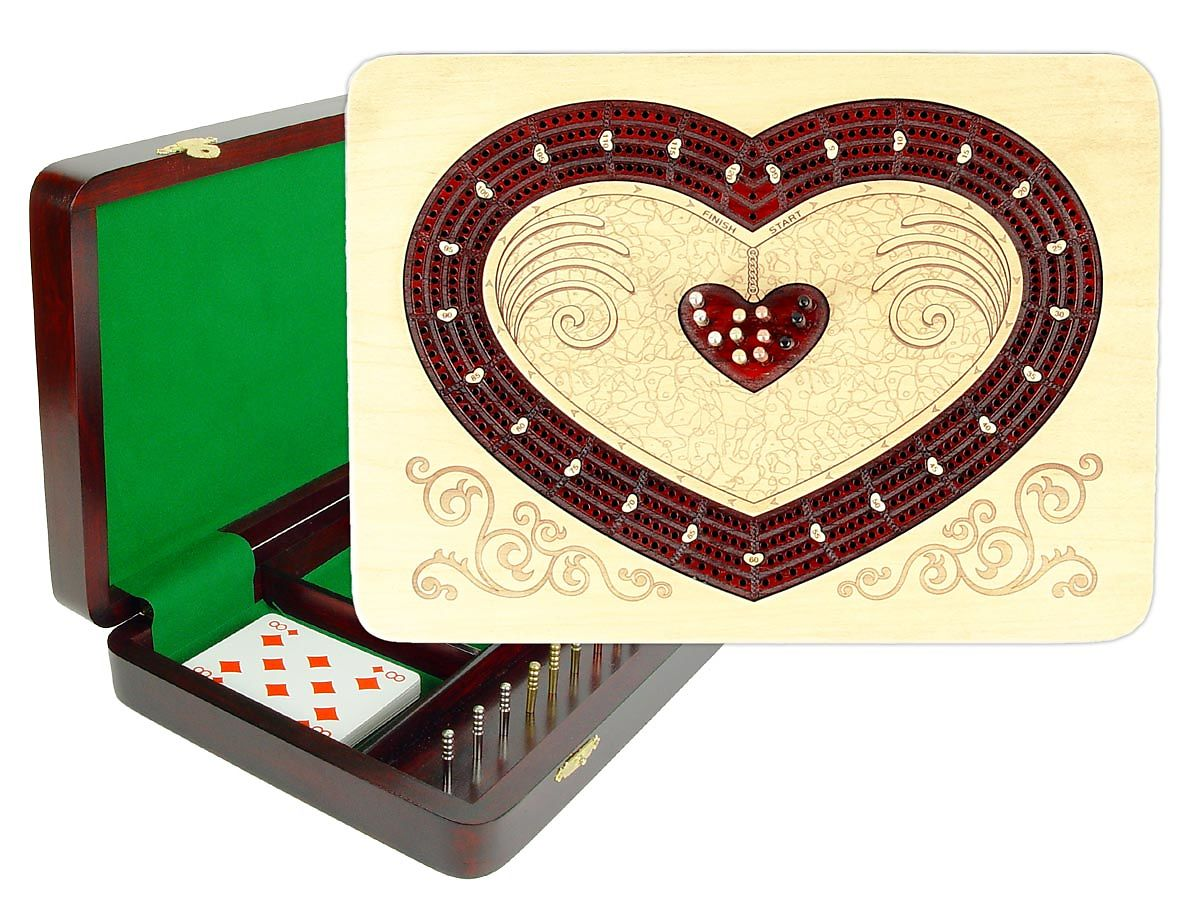 Heart Shape Continuous Cribbage Board 4 Tracks Inlaid with Maple / Bloodwood