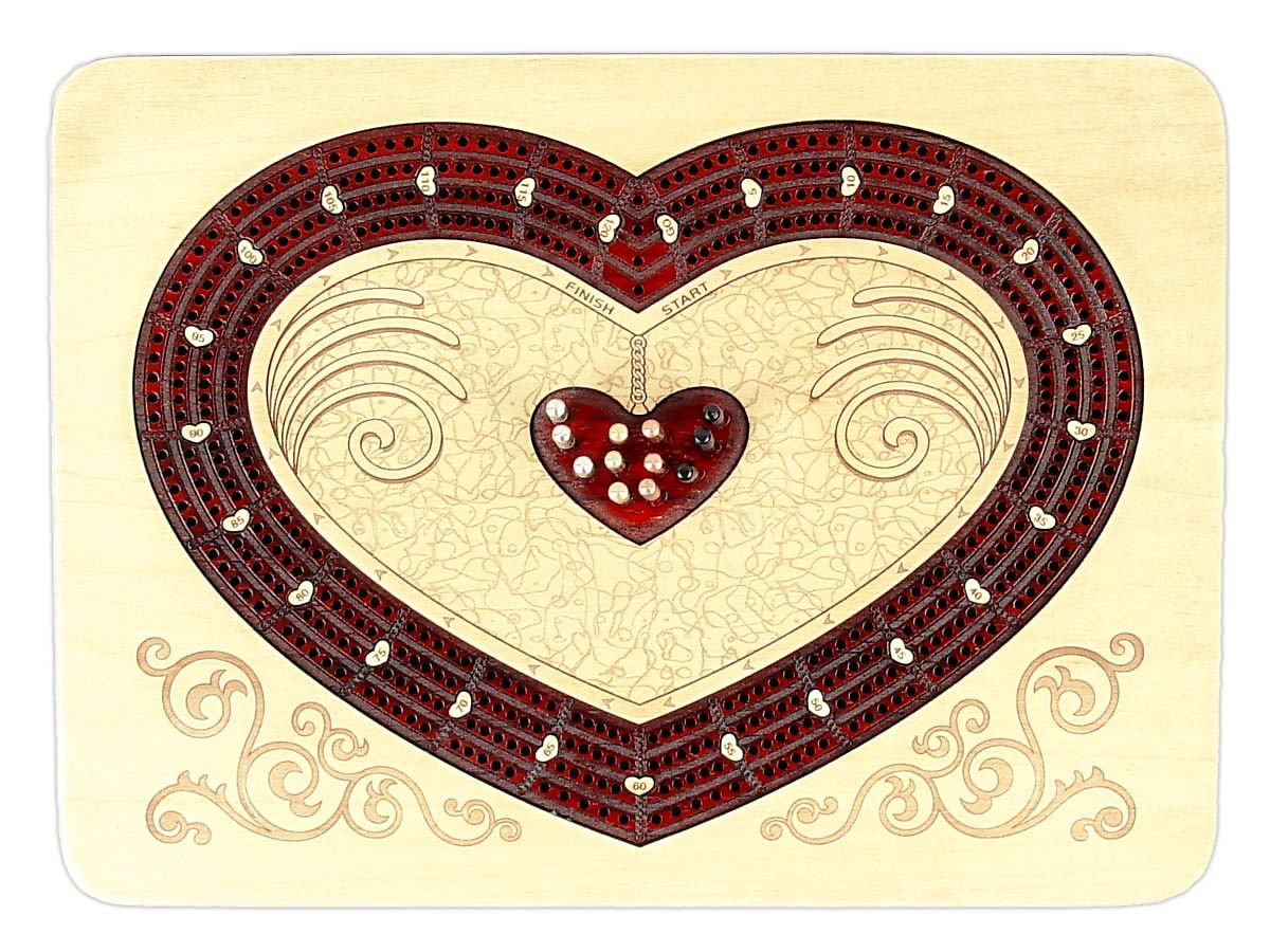 Exclusive Heart Shape Continuous Cribbage Board with 4 tracks inlaid in maple bloodwood