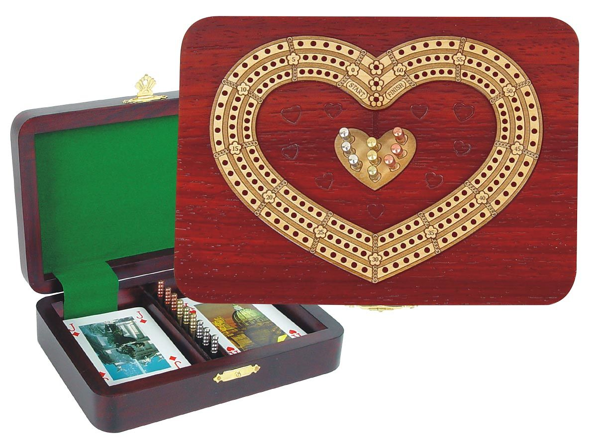 Continuous Cribbage Board 3 Tracks Heart Shape inlaid with Blood Wood / Maple