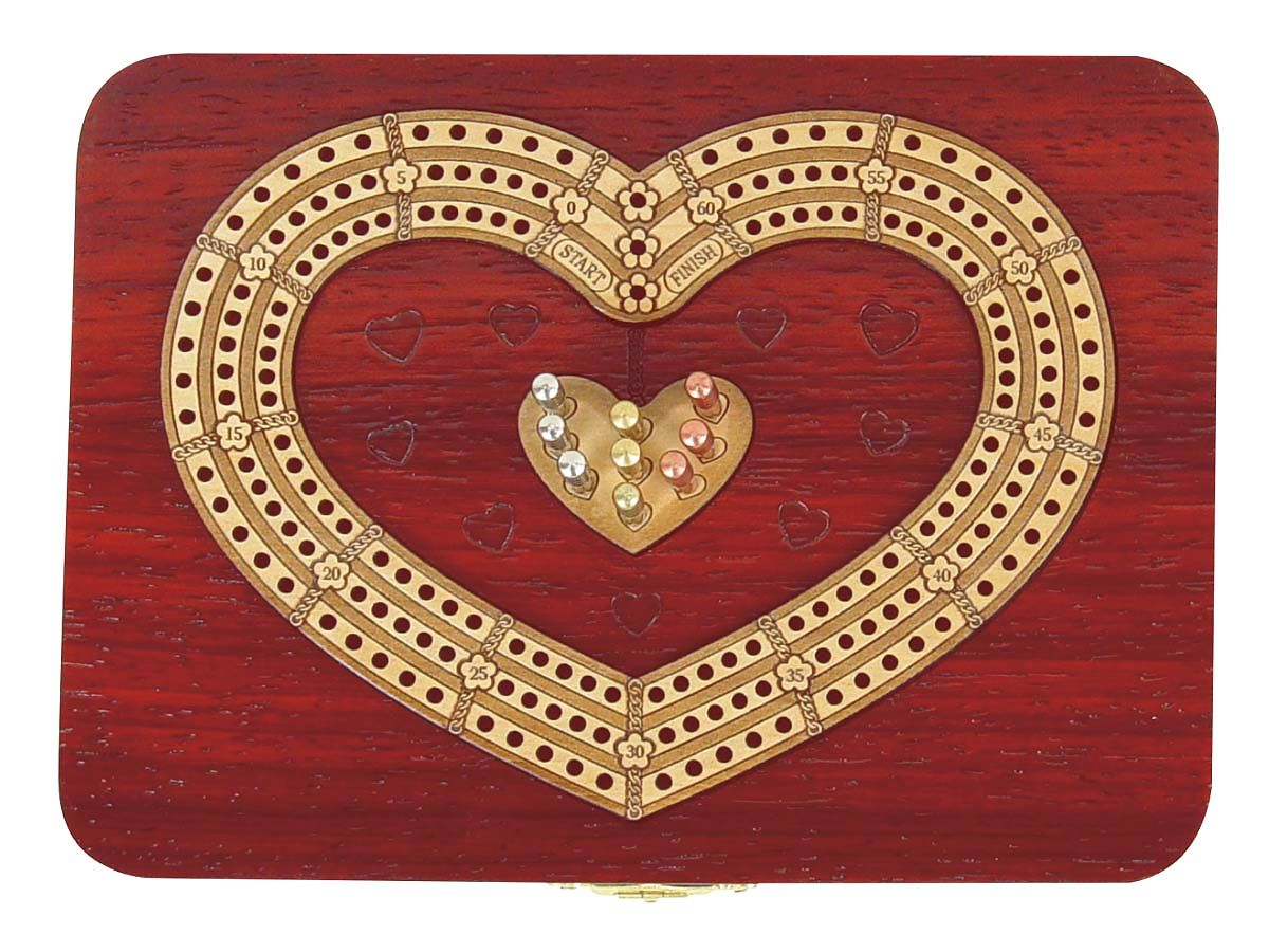 3 Track Continuous Cribbage Board in Blood wood (Heart Shape)
