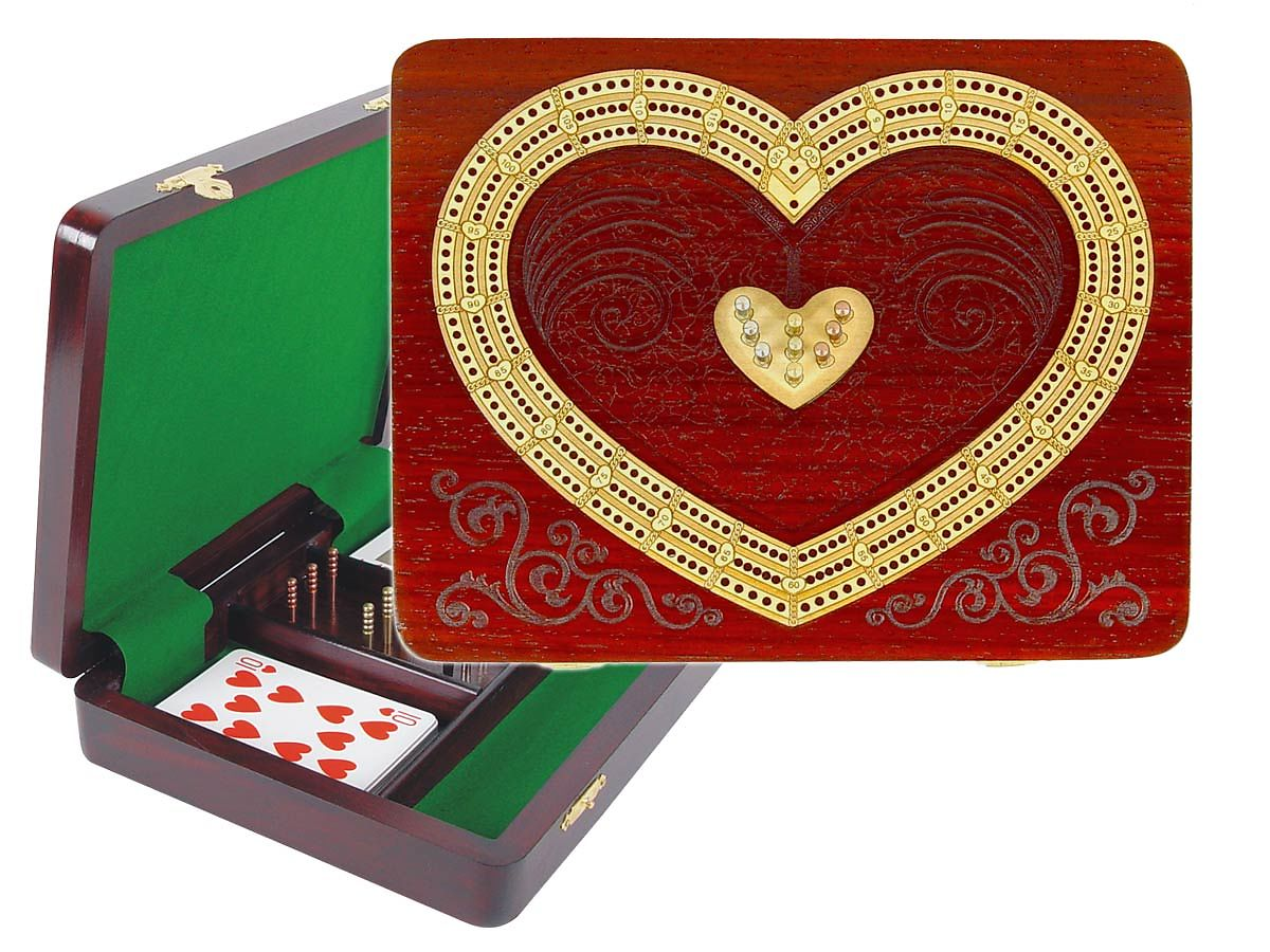 Continuous Cribbage Board / Box inlaid in Blood Wood / Maple - 3 Tracks (Heart Shape)