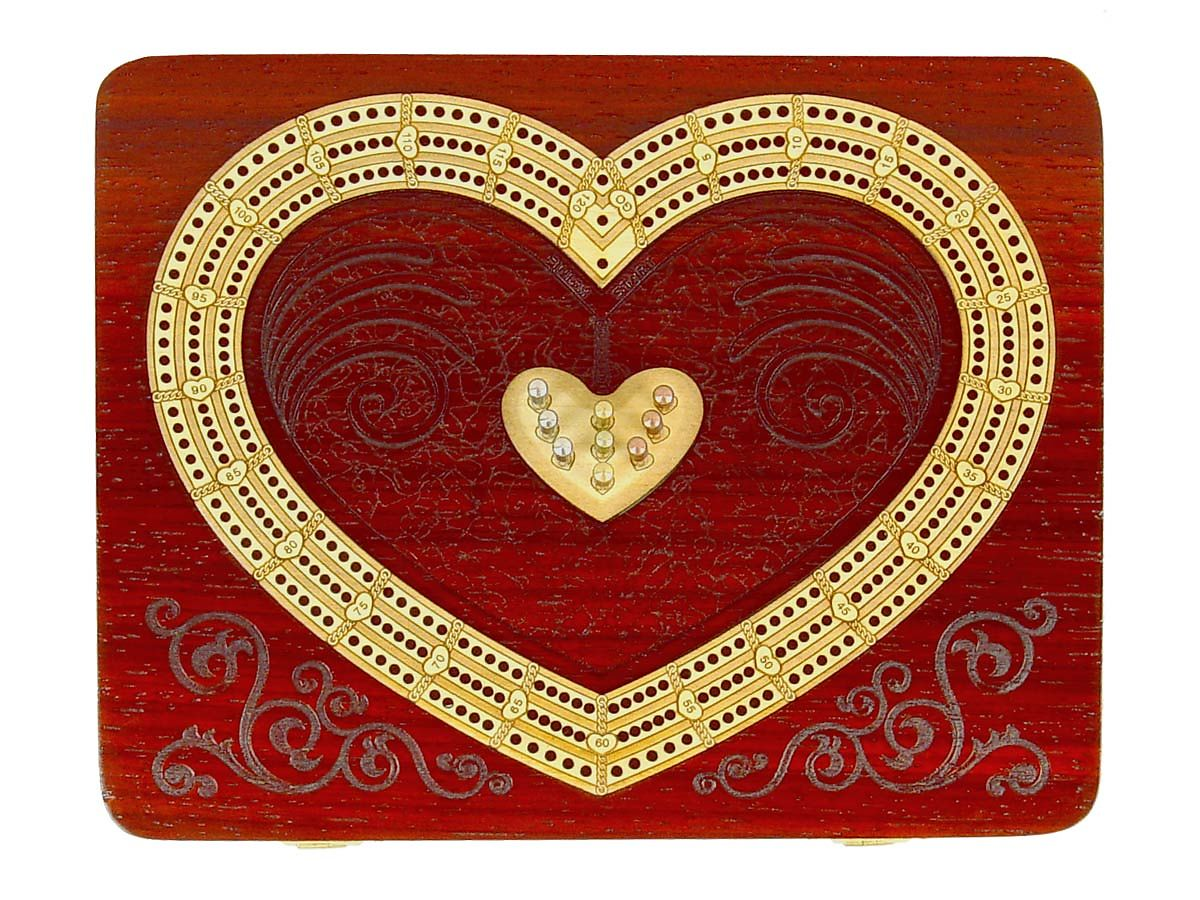 Heart Shape Continuous Cribbage Board with 3 Tracks inlaid in Bloodwood / Maple