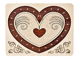"Heart Shape Continuous Cribbage Board inlaid with Maple / Bloodwood - 3 Tracks :: 9"" x 7"""