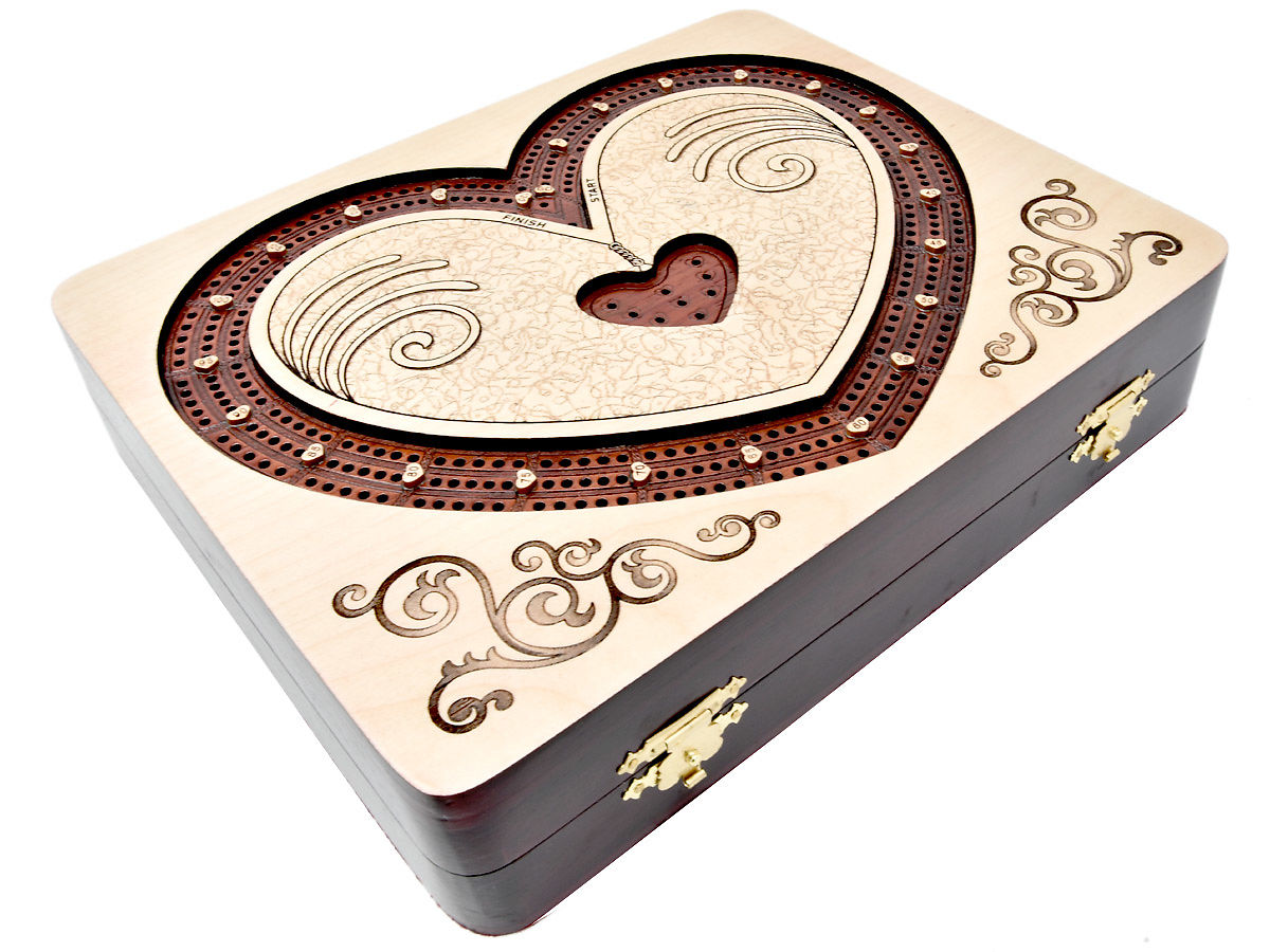Handmade Cribbage Board in Heart Shape Continuous 3 Tracks