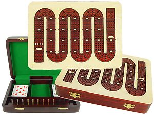 "Zig Zag Shape Continuous 4 Tracks Cribbage Board inlaid with Maple / Bloodwood :: 11"" x 8"""
