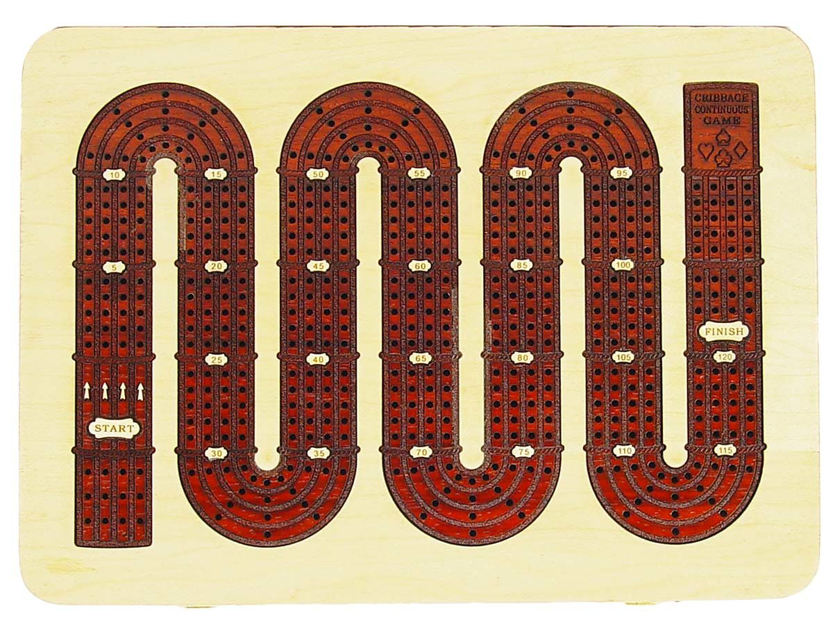 Top view of Zig Zag design continuous cribbage board