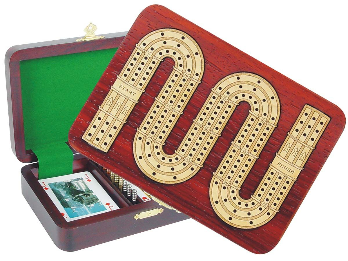 Zig Zag Shape Cribbage Board (Continuous) inlaid with Blood Wood / Maple - 3 Tracks