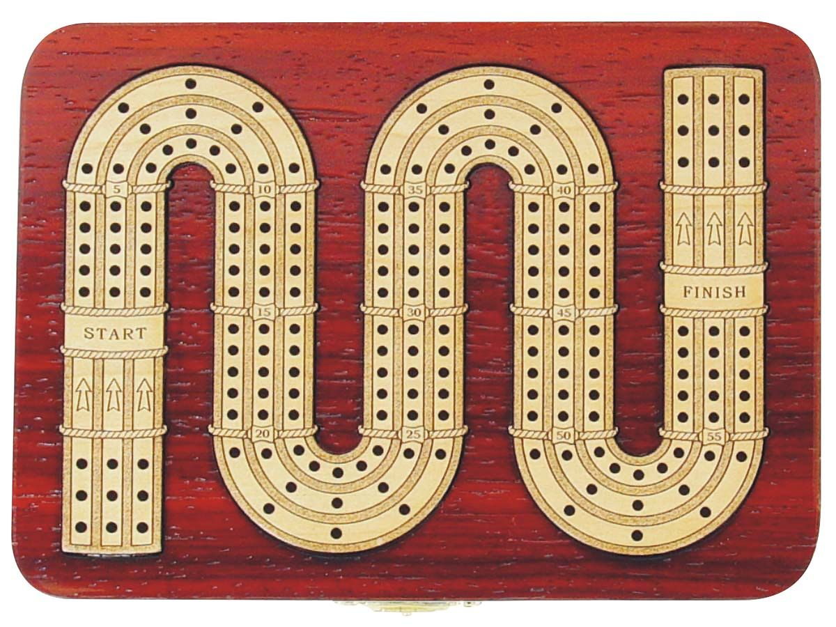 Zig Zag Design 3 Track Continuous Cribbage Board in Blood wood