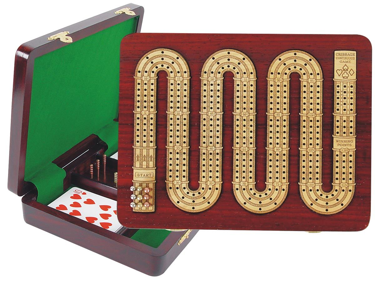 Continuous Cribbage Board 3 Tracks (Zig Zag Shape) inlaid with Blood Wood / Maple