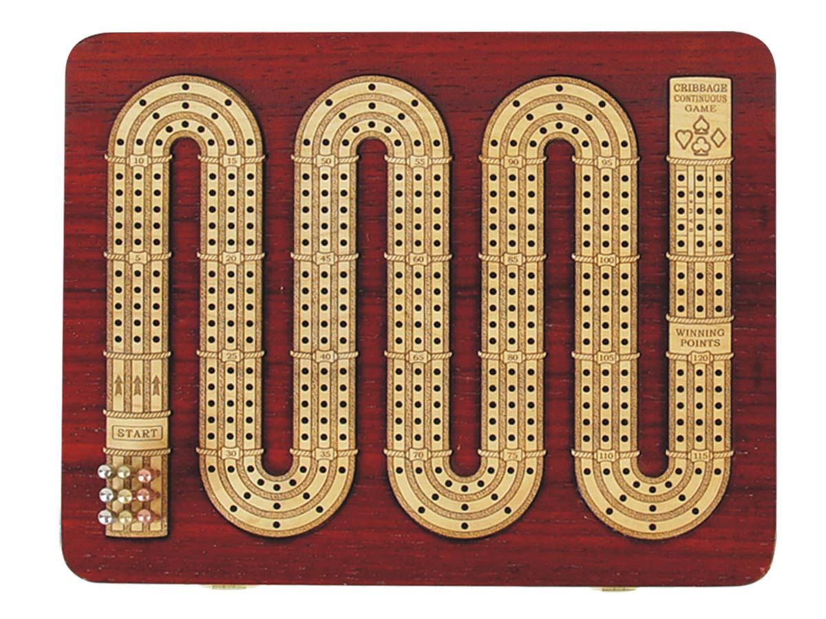 3 Track Zig Zag Shape Continuous Cribbage Board in Blood wood