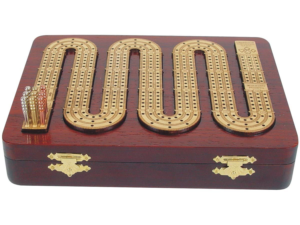 Closed Cribbage Board and Top with 3 Tracks