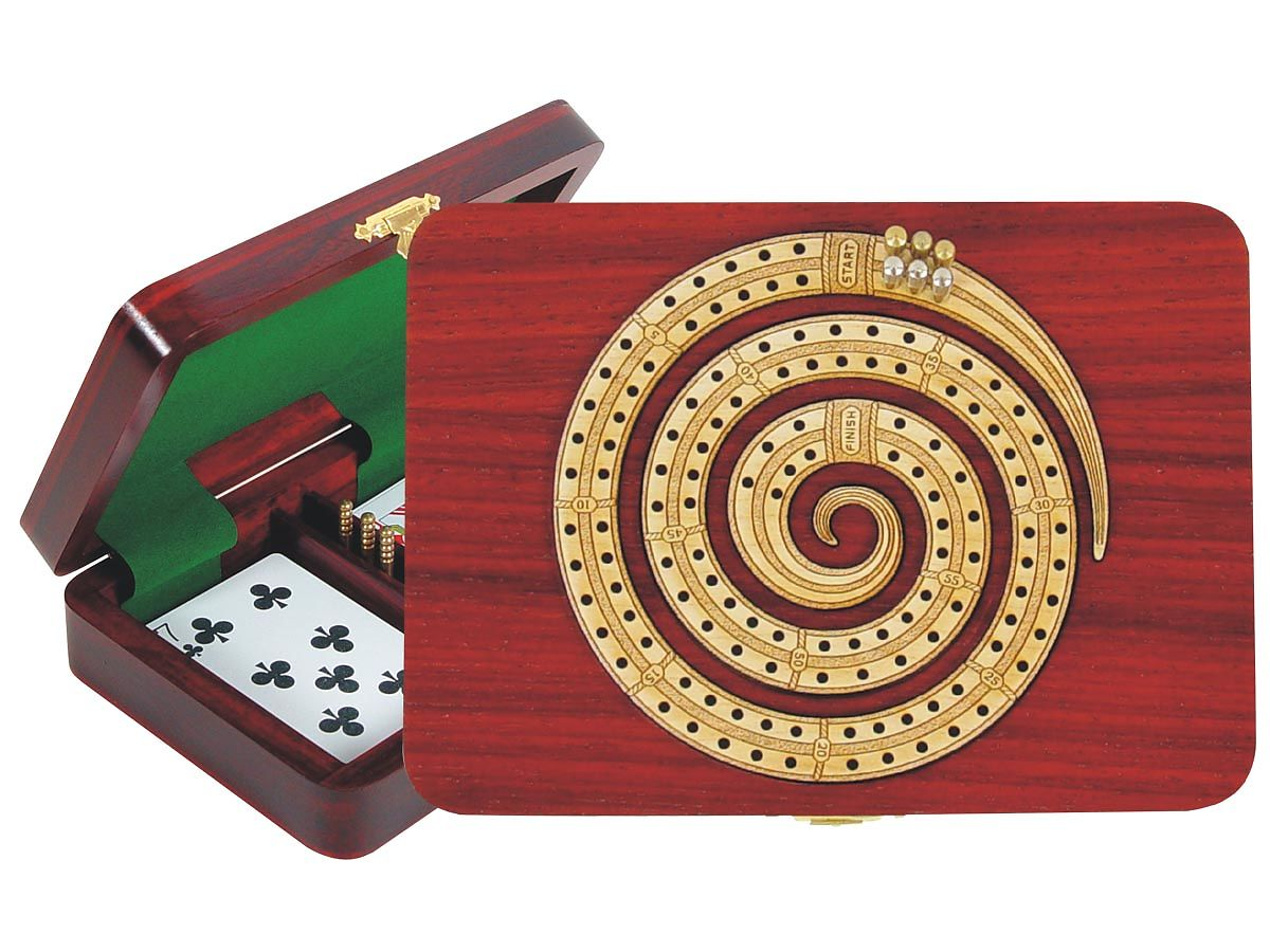 Spiral Shape Continuous Cribbage Board inlaid with Bloodwood / Maple - 2 Tracks