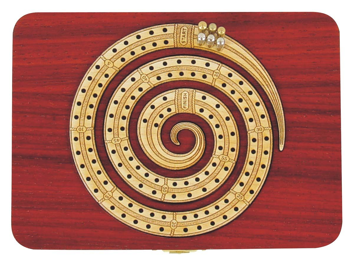 Spiral Shape Cribbage Board Continuous 2 Tracks carved in wood