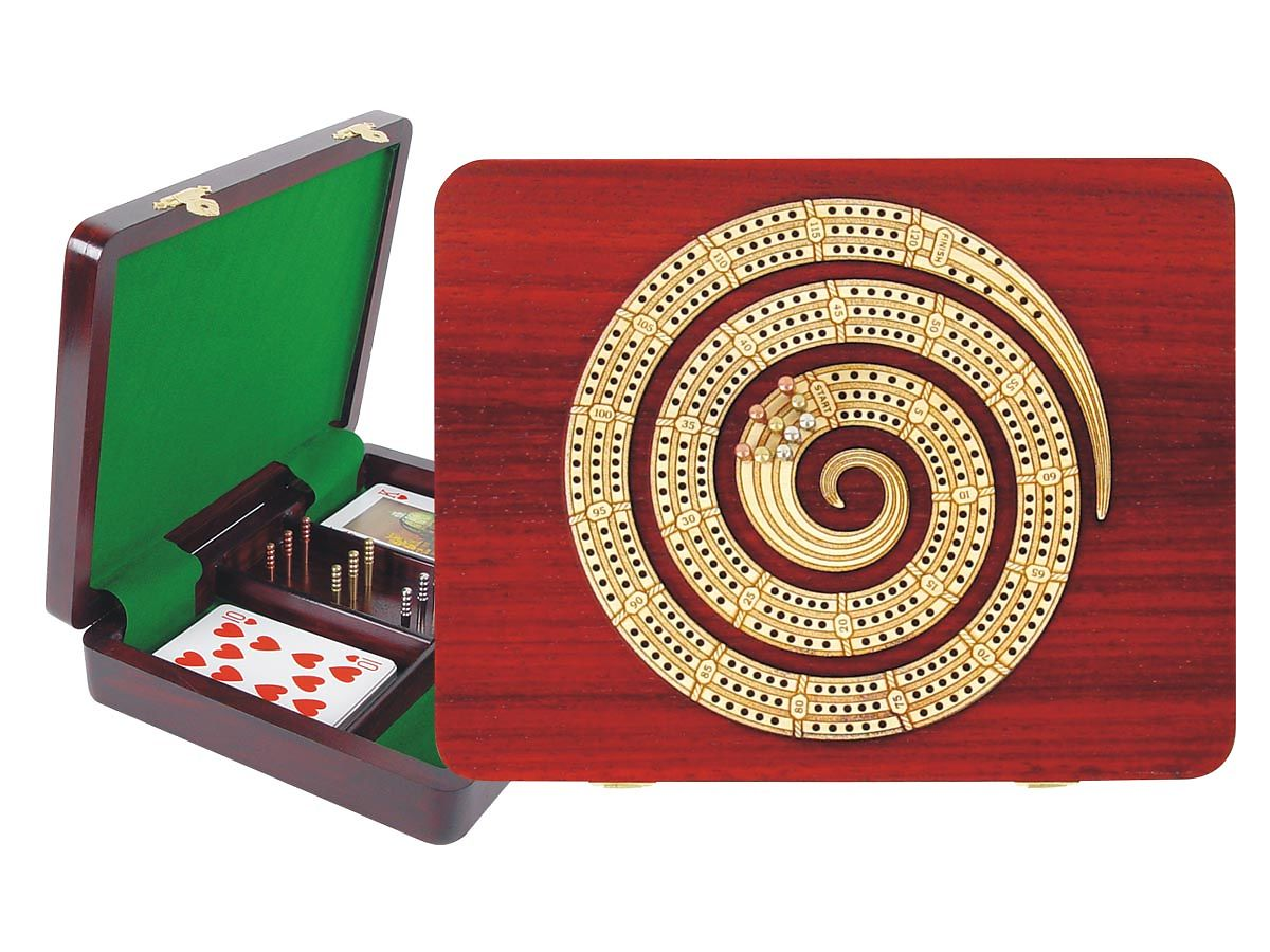Continuous Cribbage Board Spiral Shape in Bloodwood / Maple 3 Tracks