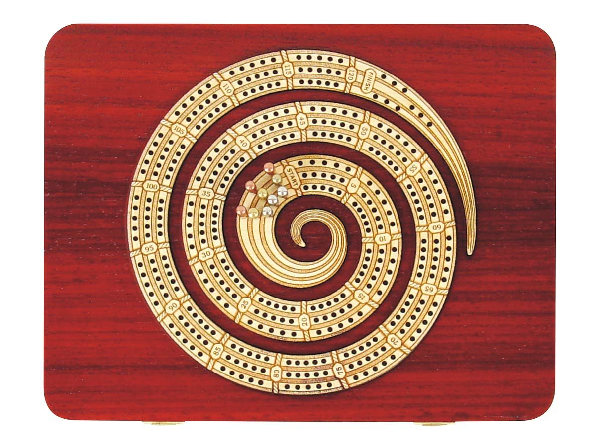 Spiral Shape Cribbage Board Continuous 3 Tracks carved in wood