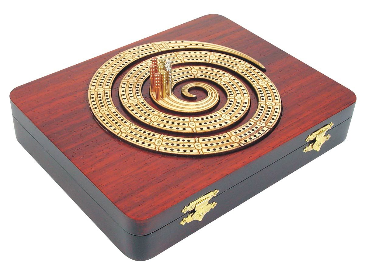 Side View of Cribbage Board in Spiral Shape 3 Tracks Maple and Bloodwood