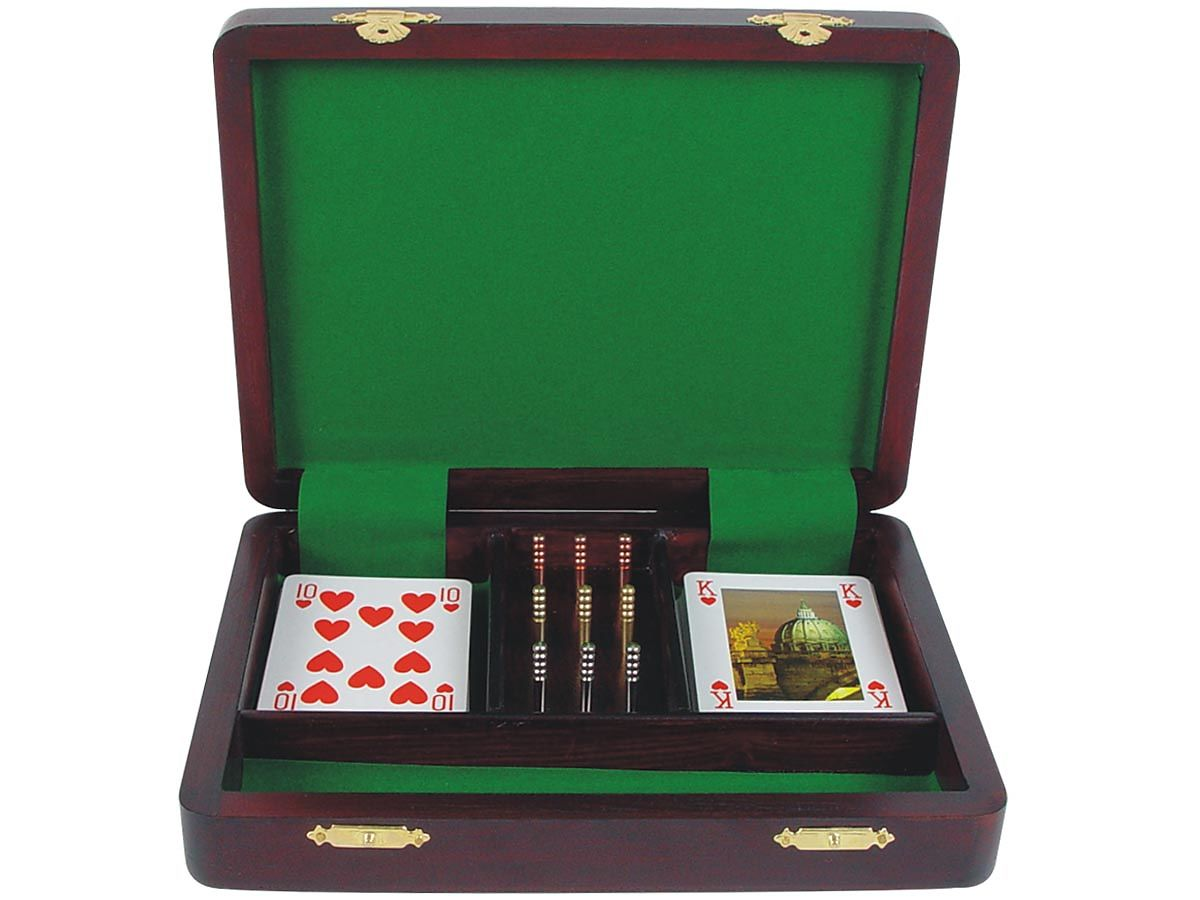 Inner view of cribbage board / box with playing cards and pegs