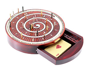 Cribbage Board Spiral Design Round Shape 4 Tracks Maple/Bloodwood with place for Skunks, Corners & Won Games