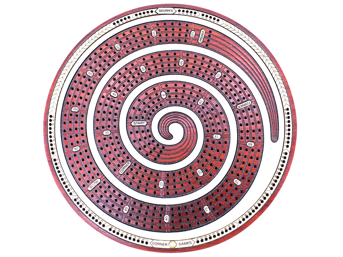 Top view of round cribbage board with inlaid 4 tracks