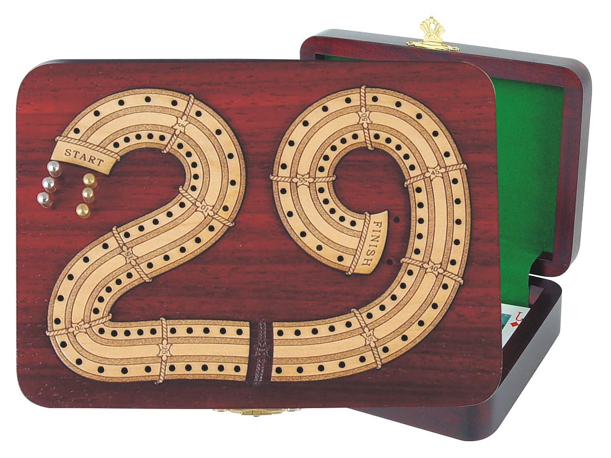 Continuous Cribbage Board in 29 Shape digits inlaid in Blood Wood / Maple - 2 Tracks