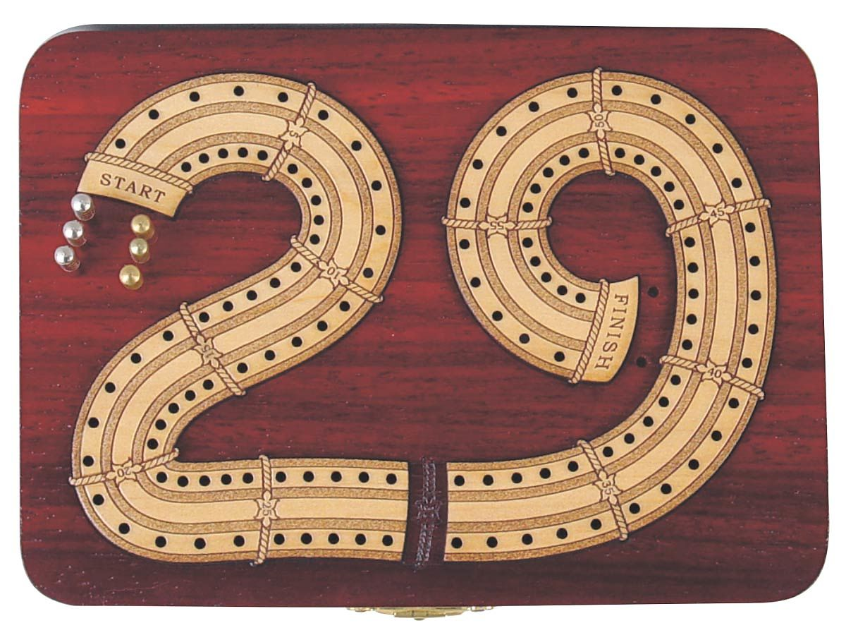 Continuous Cribbage Board in 29 Digits shape 2 Tracks inlaid with maple wood