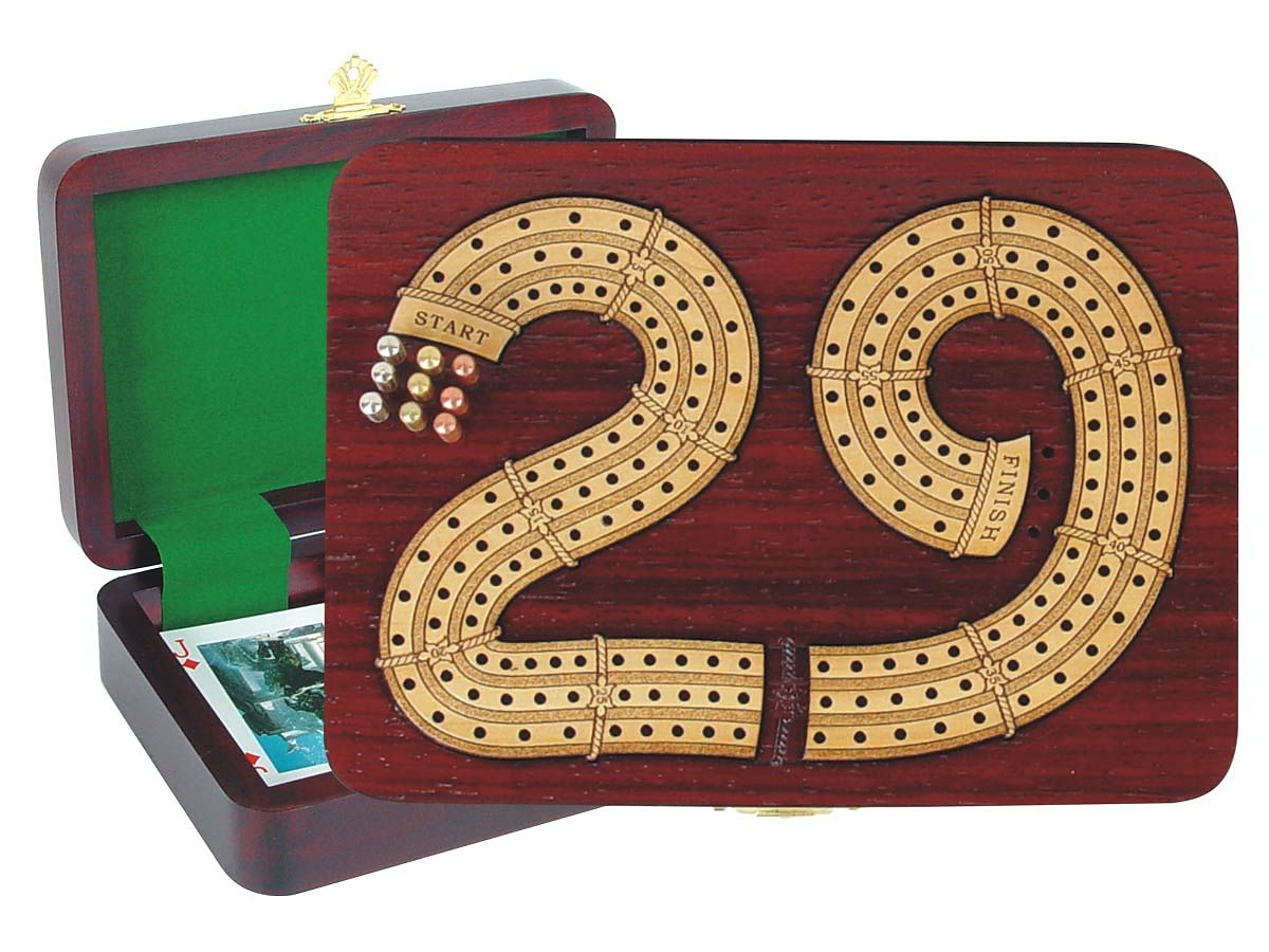 Continuous Cribbage Board in 29 Shape digits inlaid in Blood Wood / Maple - 3 Tracks