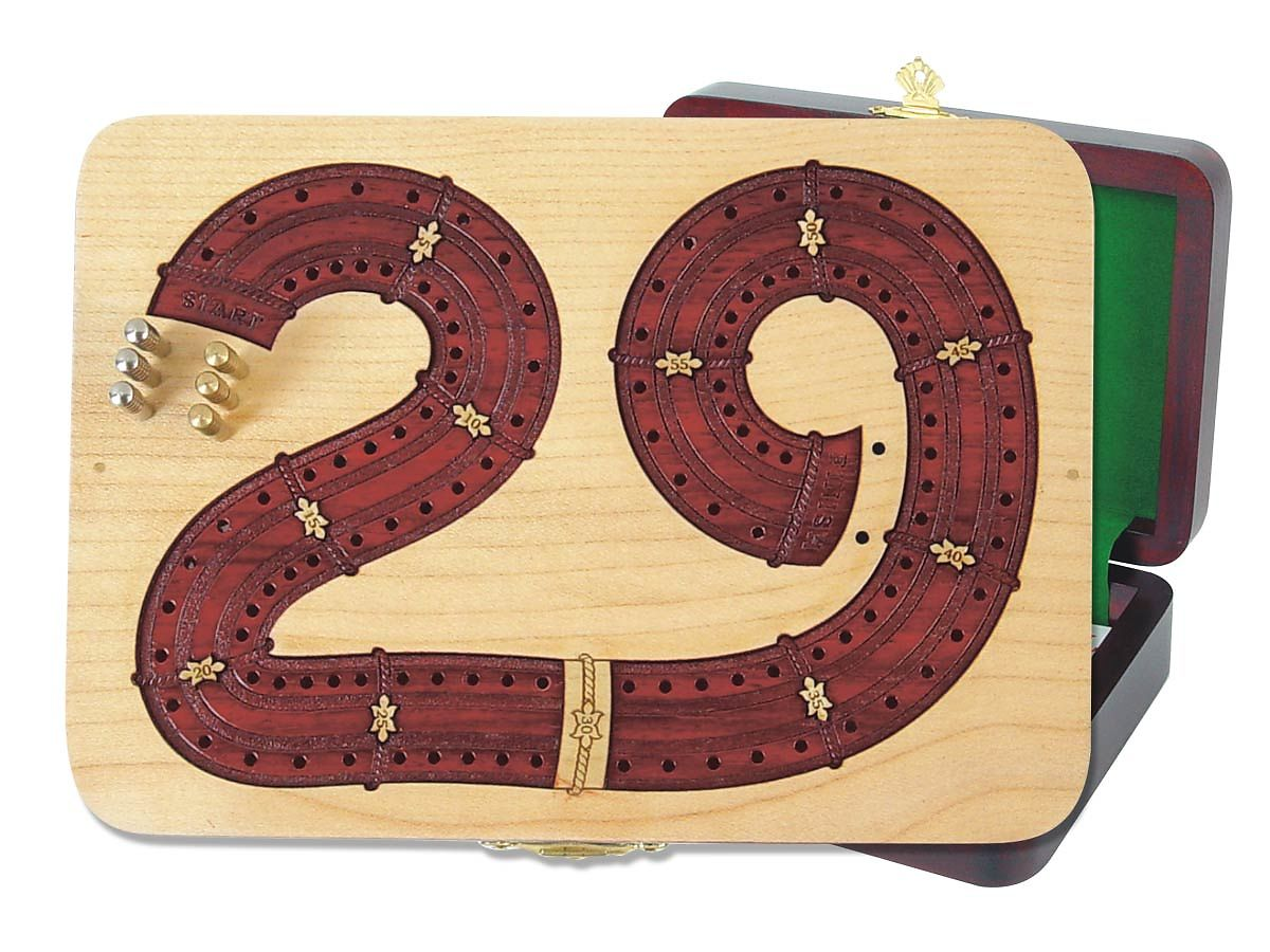 Continuous Cribbage Board in 29 Shape digits inlaid in Maple / Bloodwood - 2 Tracks