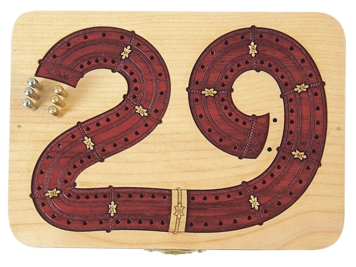 29 Digits Shape Continuous Cribbage Board Carved in Wood