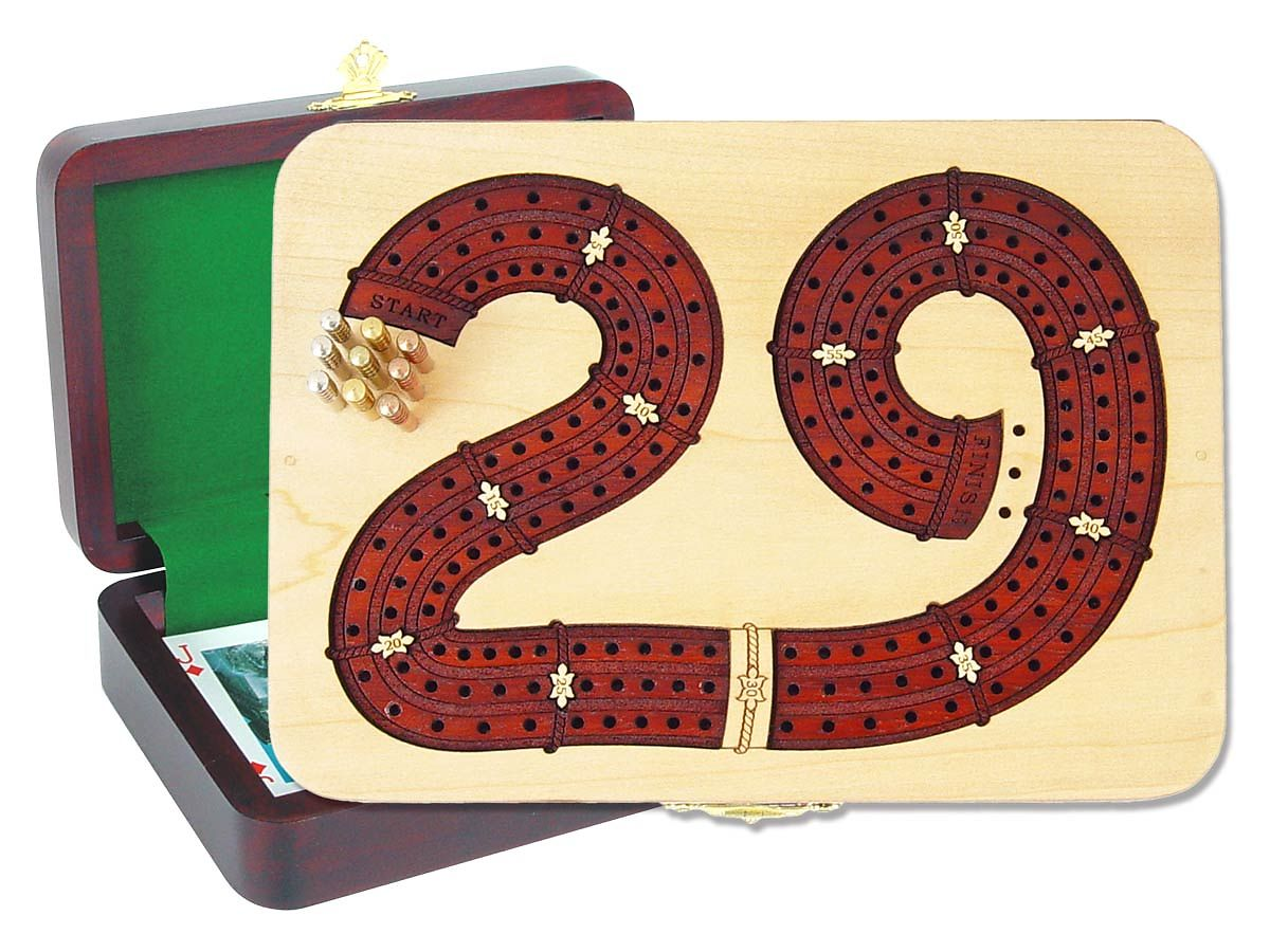 29 Digits Shape Continuous Cribbage Board inlaid with Maple / Bloodwood - 3 Tracks