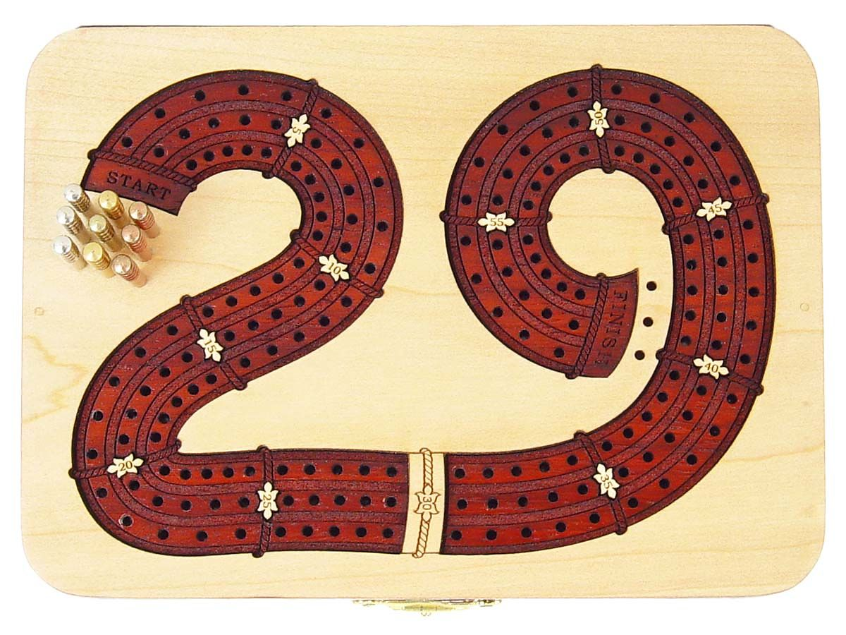 Exclusive 29 Digits shape continuous cribbage board 3 tracks in maple / bloodwood