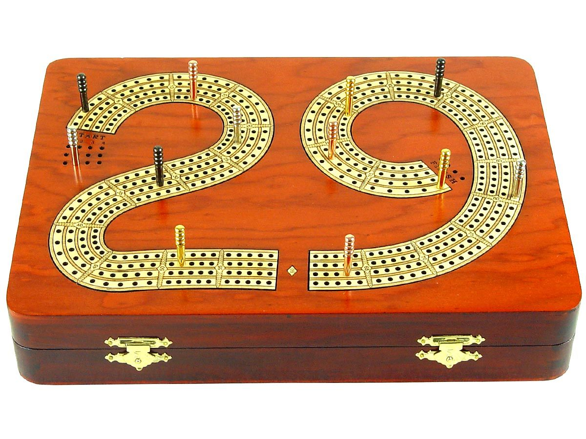 Front view of cribbage board/box with metal pegs on tracks